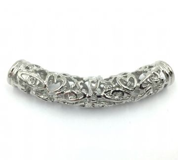 Filigree spacer tube 9mm x 47mm - Rhodium finish